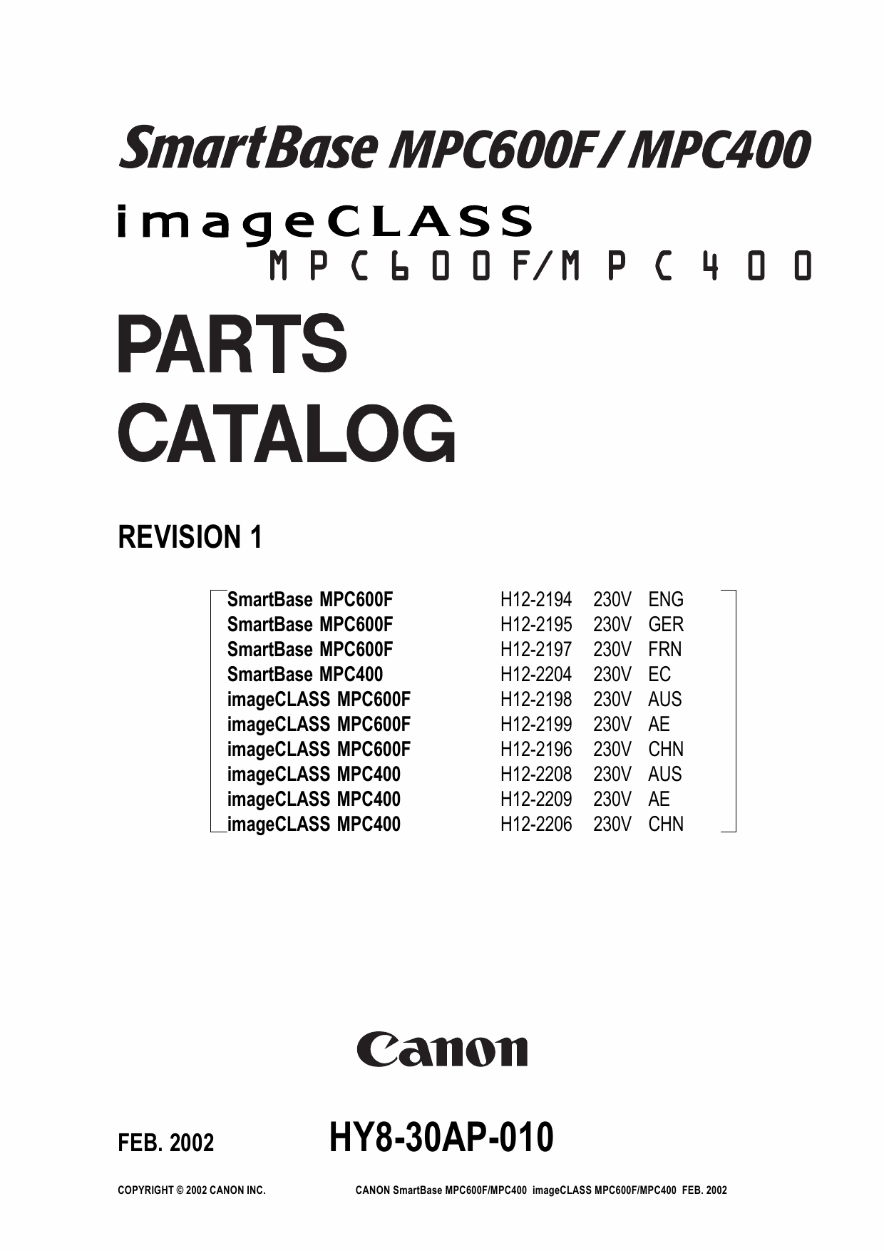 Canon SmartBase MPC400 600F Parts Catalog Manual-1